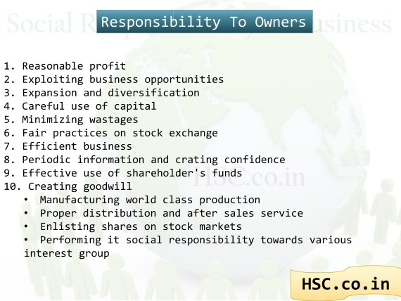 responsibility to owners