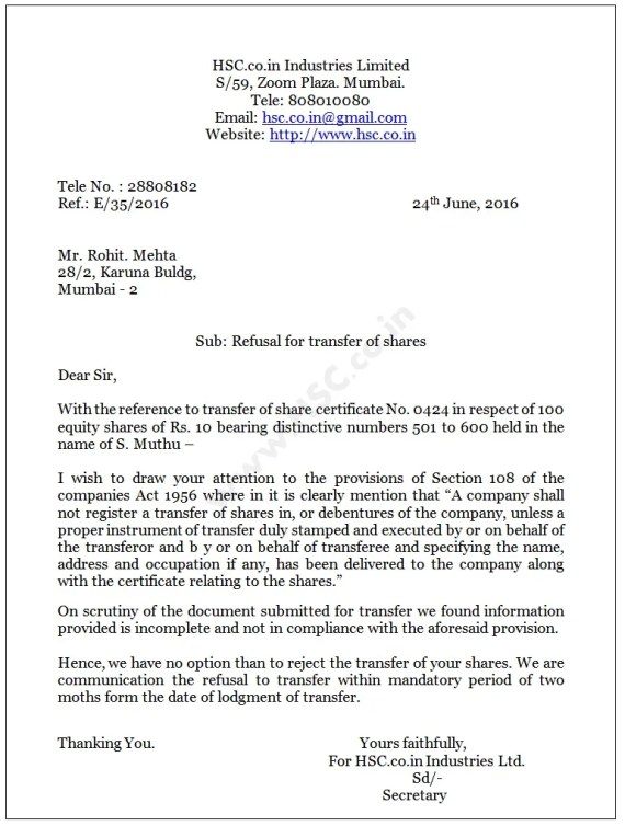 rejection letter for transfer of shares