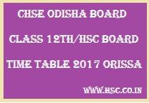 HSC Orissa/ 12th Odisha Board Date Sheet 2017
