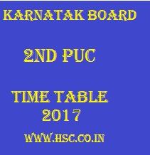 II nd puc Karnataka board date sheet 2017