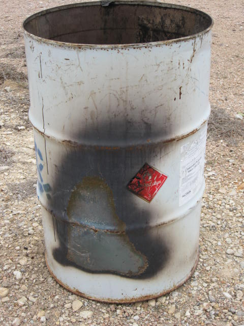 Campers placed hot coals in a garbage barrel