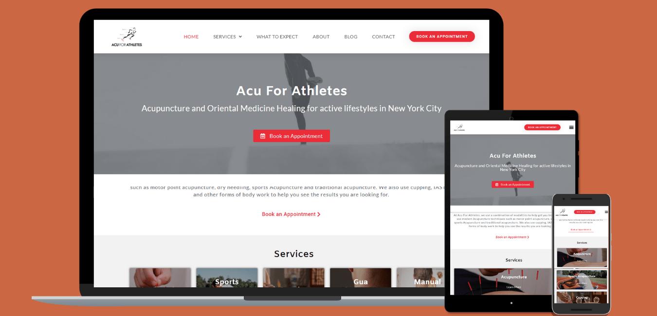 Acu for Athletes screenshots for portfolio