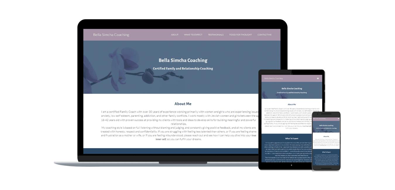 Bella Simcha Coach screenshots for portfolio