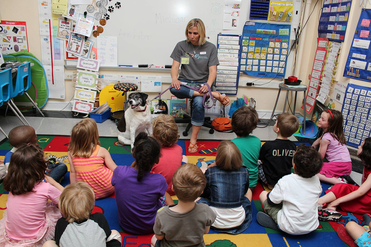 humane educator teaching a class full of students
