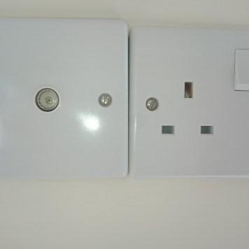Standard uk plug sockets and TV aerial socket.