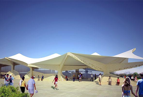 Modell av den norske EXPO-paviljongen i Shanghai