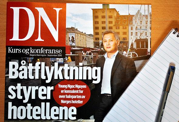 Young N. Nguyen, d2o, på forsiden av Dagens Næringslivs kurs- og konferansebilag tirsdag 21. september 2010