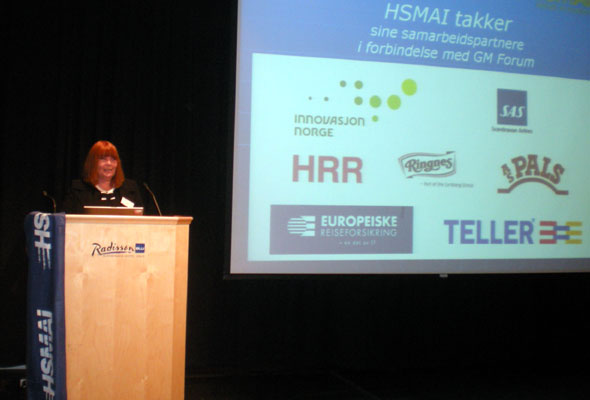 Ingunn Hofseth, HSMAI Chapter Norway's CEO and president wishes the attendants welcome to the HSMAI GM Forum 2010