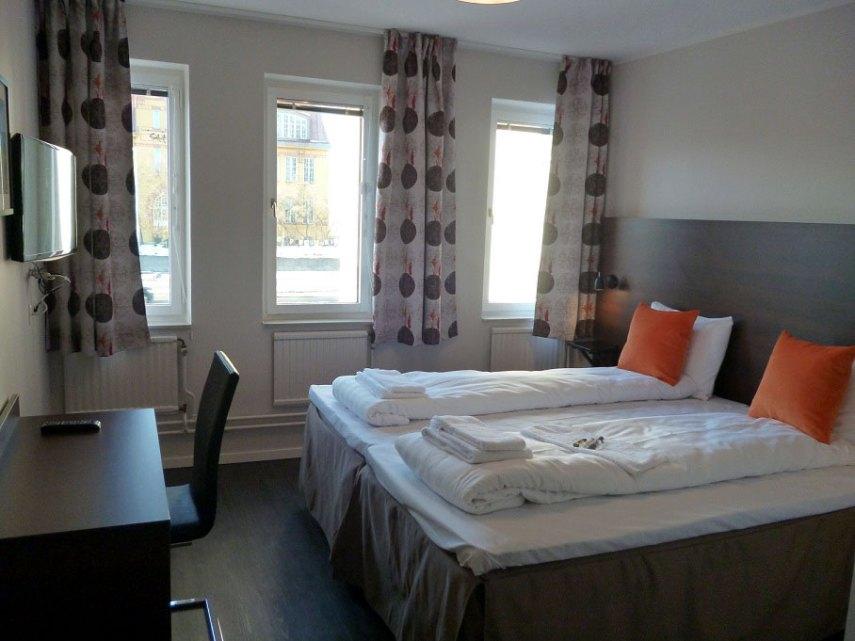 Et av rommene på First Hotel Solna. Foto fra First Hotels