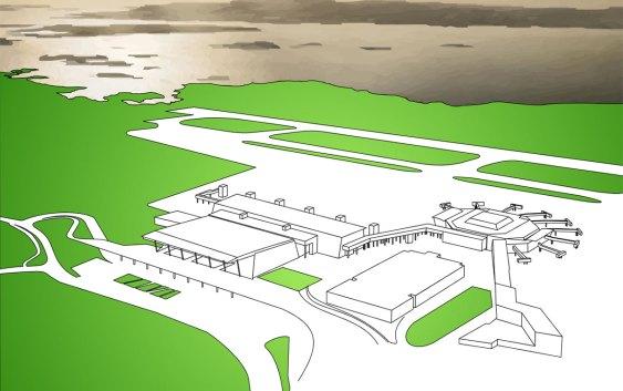 Nye Bergen lufthavn, Flesland, med åpning 17. august 2017. Tegning: Jarle Petterson