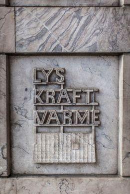 Fasaden er utsmykket med verdiordene til Oslo Lysverker. Fotograf: Chris Aadland.