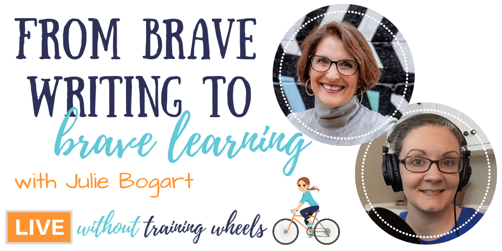 """Julie Bogart, founder of Brave Writer and gentle encourager of homeschool moms everywhere, joins us tonight to talk about the journey from Brave Writer to publishing her recently released book """"The Brave Learner""""!"""