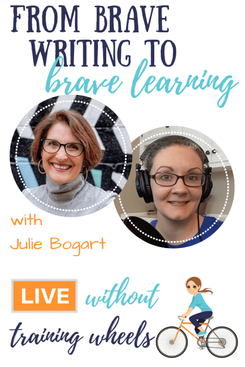 "Julie Bogart, founder of Brave Writer and gentle encourager of homeschool moms everywhere, joins us tonight to talk about the journey from Brave Writer to publishing her recently released book ""The Brave Learner""!"