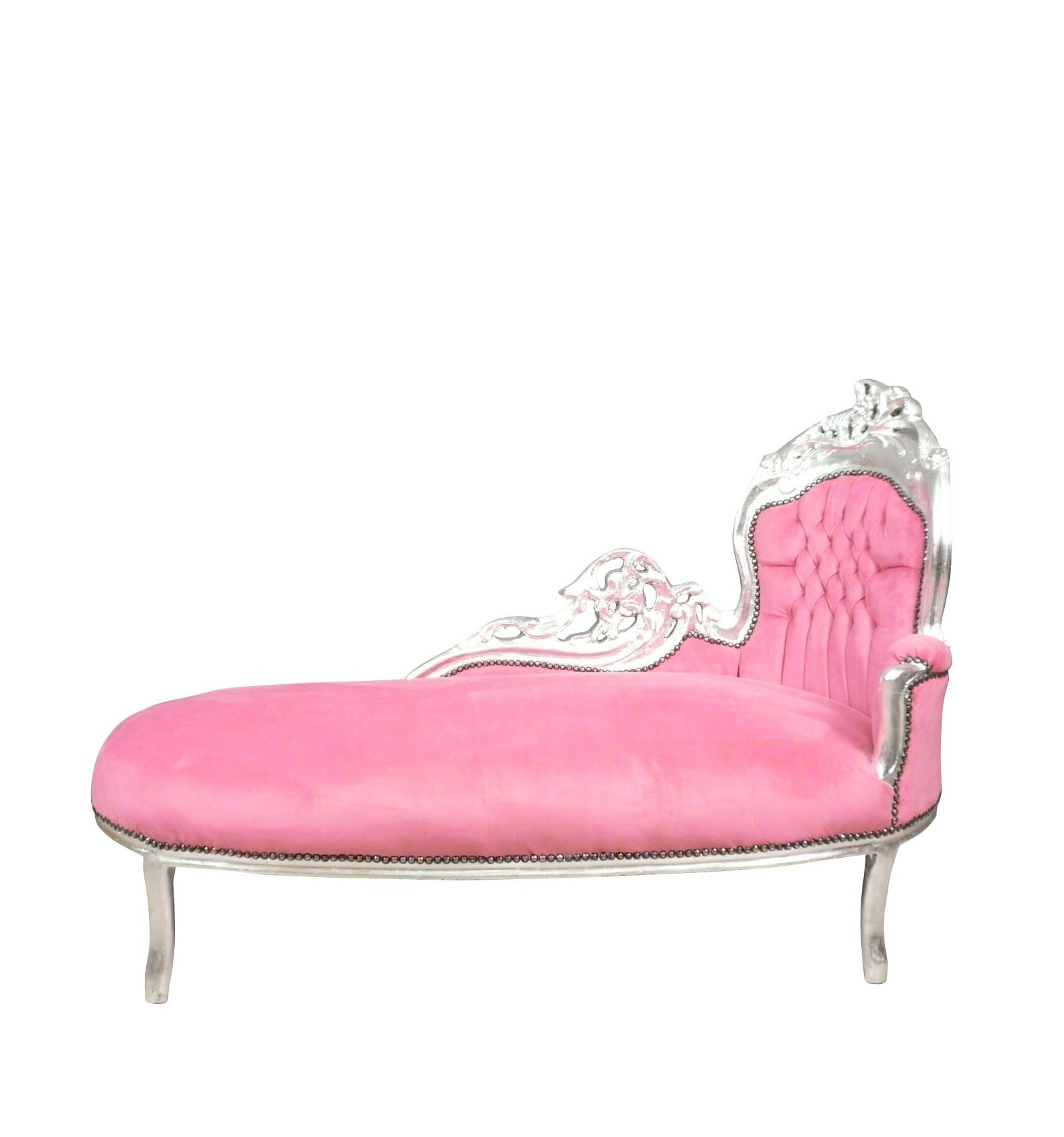 baroque chaise longue pink and silver