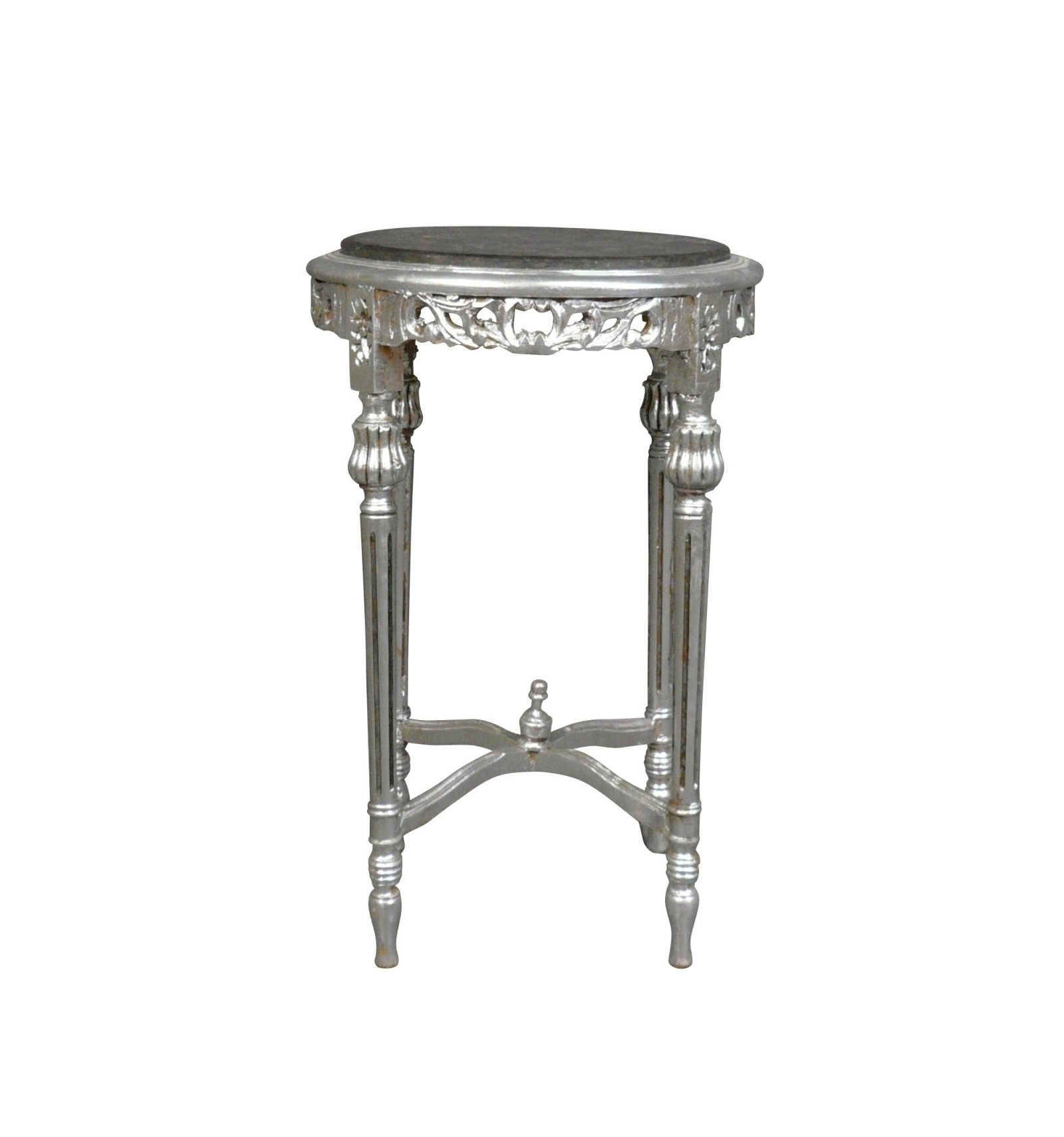Baroque Silver Plated Black Marble Bolster Rococo Table