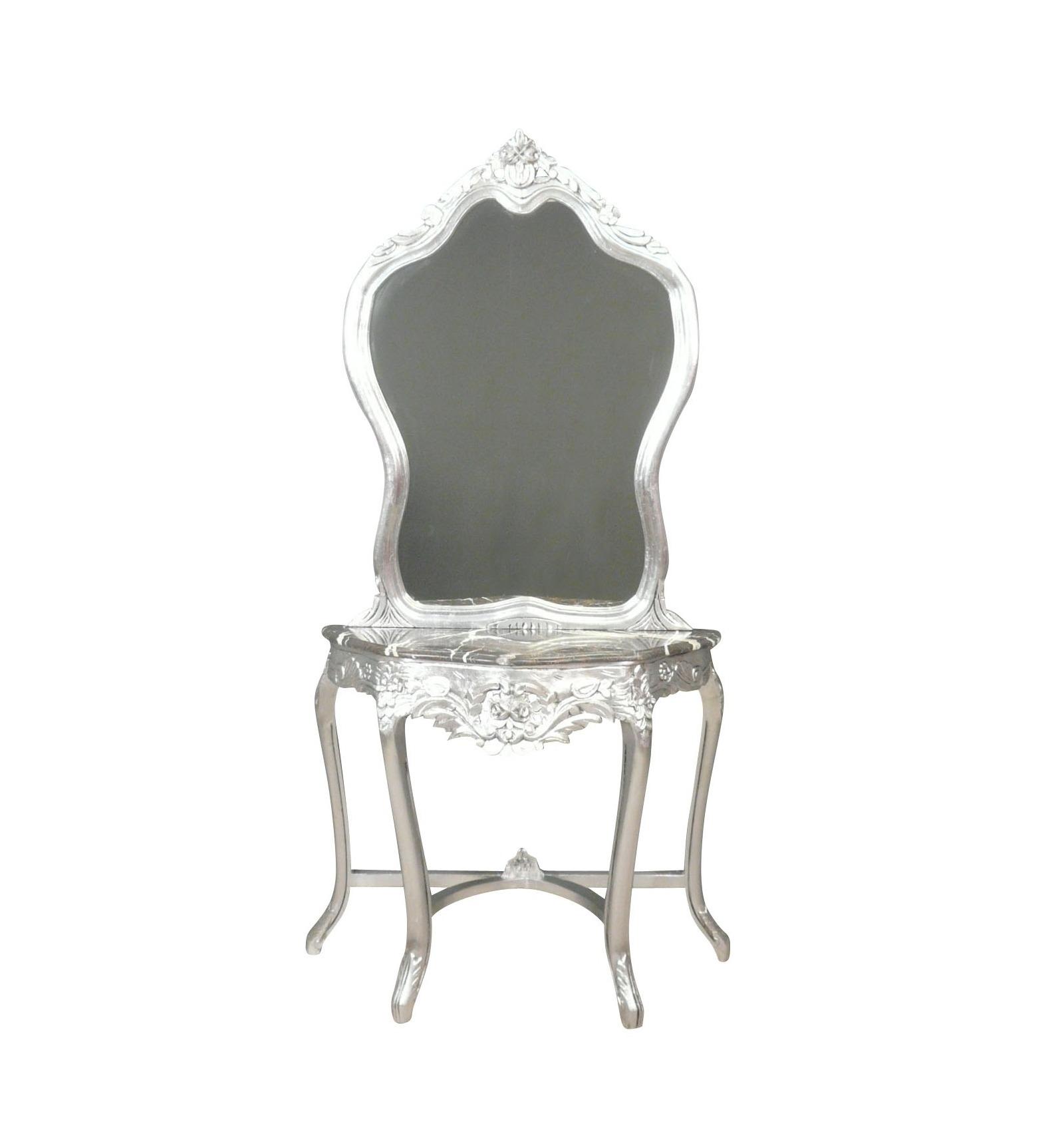 console baroque en bois argente avec son miroir
