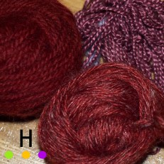 silk and wool yarns dyed in lac