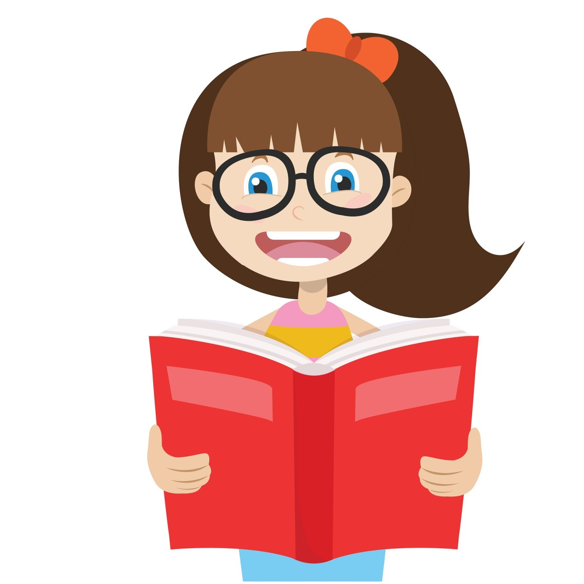 Clipart Image of Girl Reading