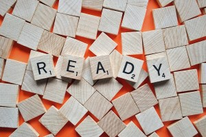 Scrabble tiles spell ready