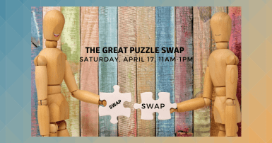The Great Puzzle Swap, two figures trading puzzle pieces
