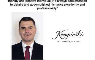 Mr. Tiberiu Vaduva, Corporate Finance Trainee reporting to Finance Manager at Kempinski Hotels S.A. in Geneva