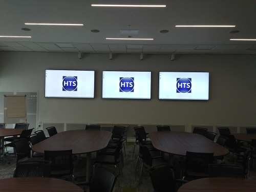 Three displays installed by hts