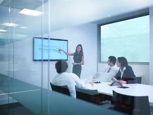 Fully equipped meeting room with an interactive display