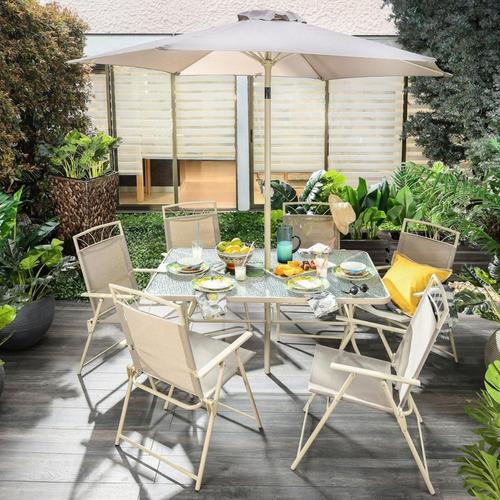 set de mesa vidrio 6 sillas plegables sombrilla jardin acero