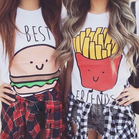 Camiseta Ou Baby Look Best Friends 2 Unid Melhores Amigas