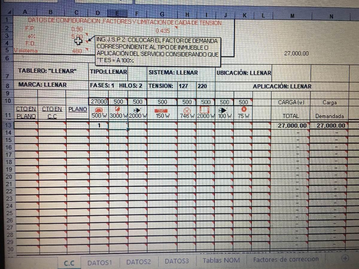 Cuadro De Cargas Excel Y Autocad