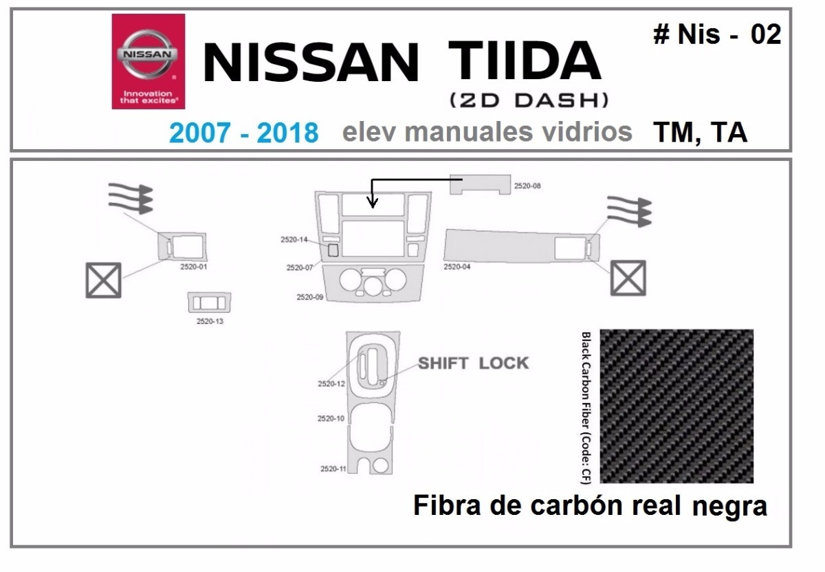 Kit Molduras Tablero Nissan Tiida