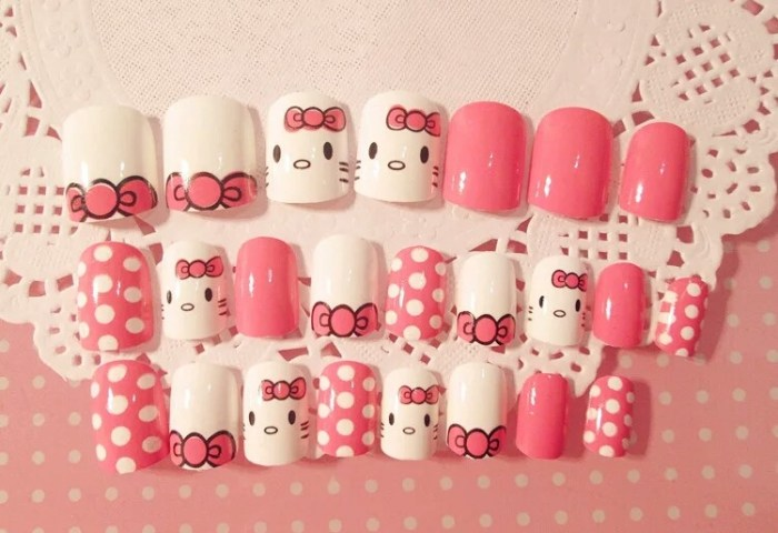 Set 24 Uñas Postizas Decoradas Hello Kitty 10000 En Mercado Libre