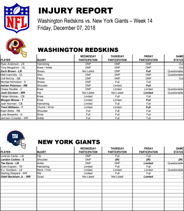 redskins vs giants week 14