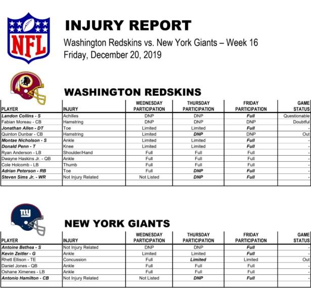 Redskins vs Giants Week 16