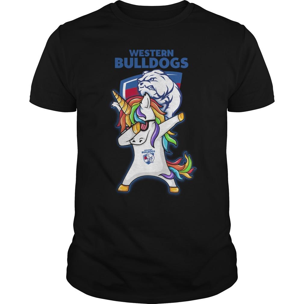 Unicorn dabbing Western Bulldogs rugby shirt