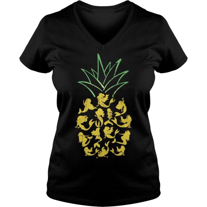 Mermaid pineapple V-neck t-shirt