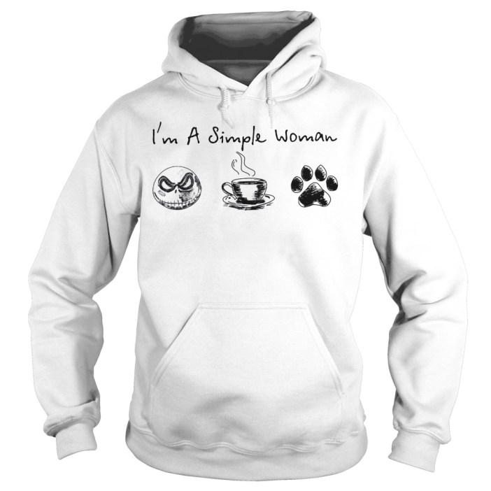 I'm a simple woman I like Jack skellington coffee and paw dog Hoodie