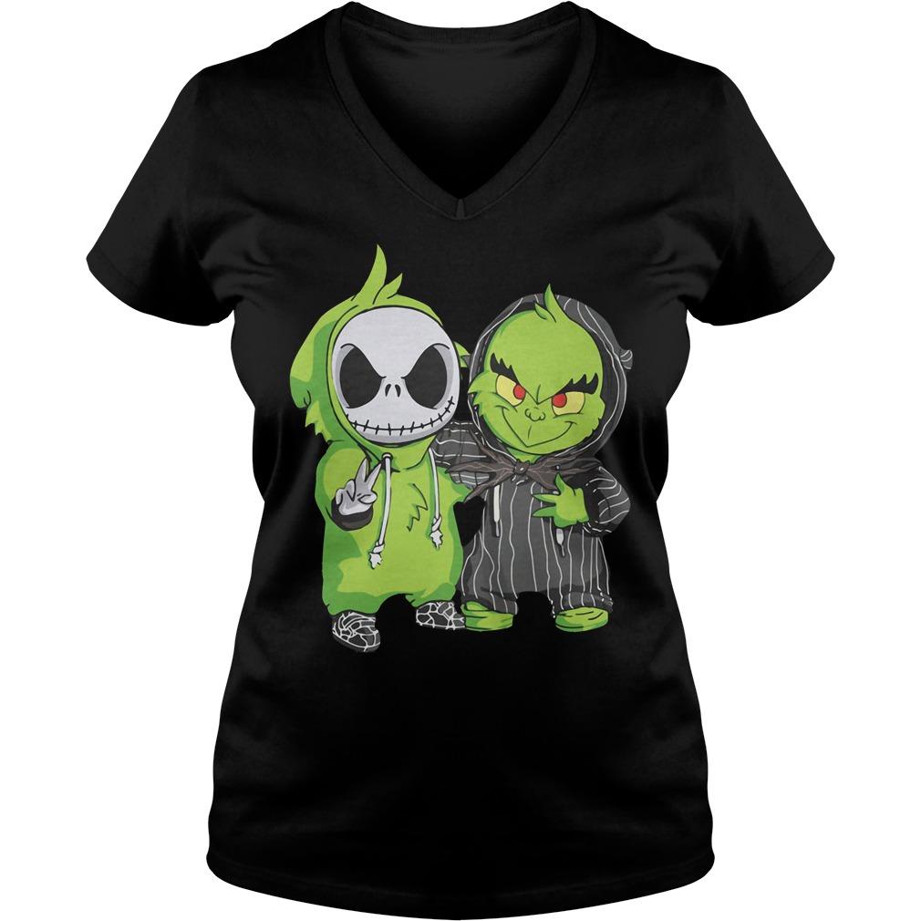 Grinch and Jack Skellington V-neck t-shirt