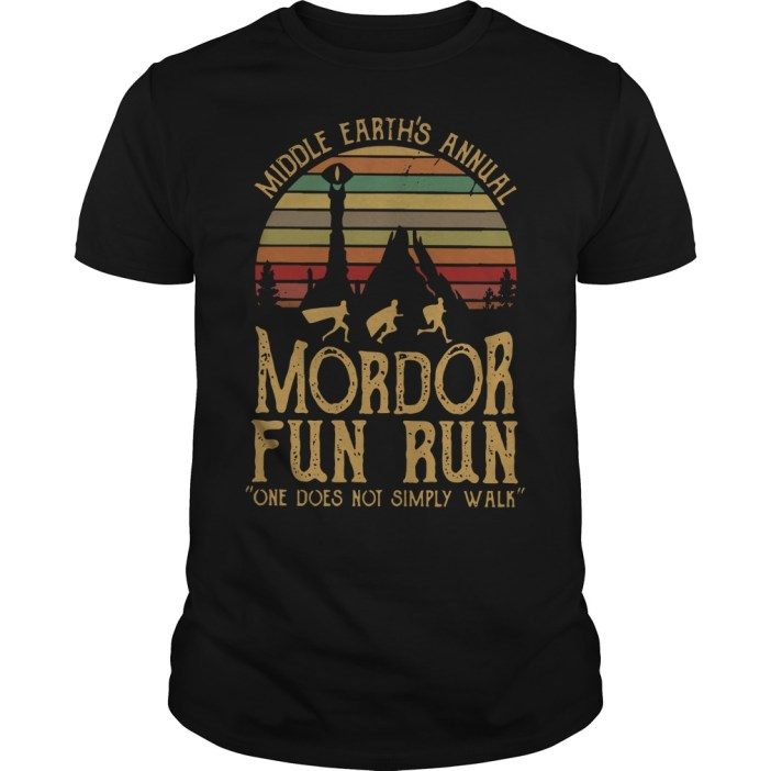 Middle earth's annual mordor fun run one does not simply walk vintage Guys shirt