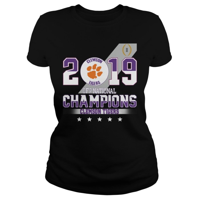 2019 Clemson Tigers CFP national champions Clemson Tigers Ladies tee