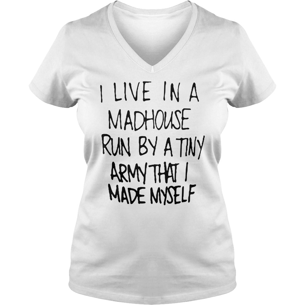 I live in a madhouse run by a tiny army that I made myself V-neck t-shirt