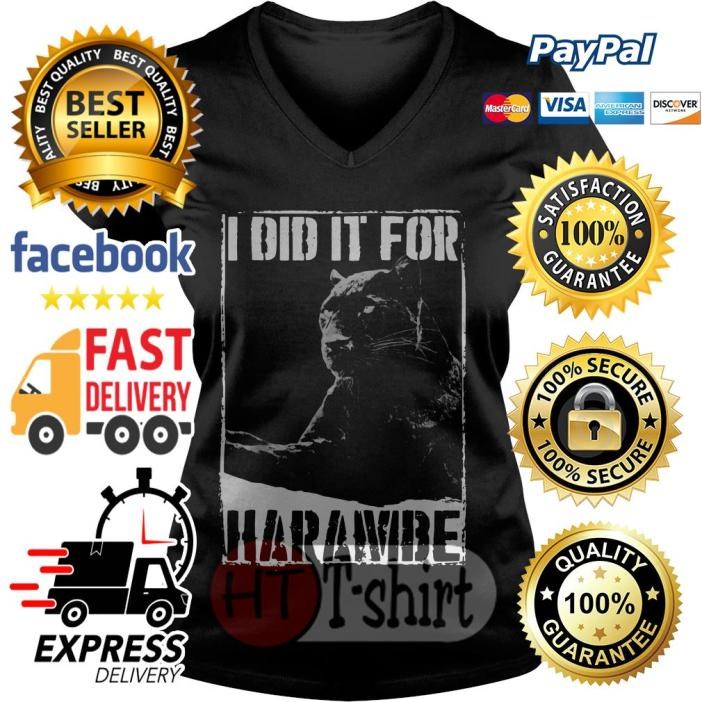 Black Panther I did it for harambe V-neck t-shirt