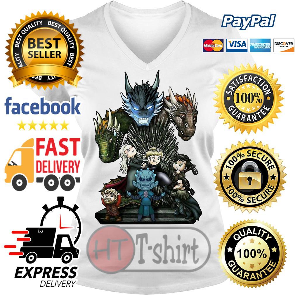 Daenerys Targaryen Rhaegal and Viserion Game of Thrones V-neck t-shirt