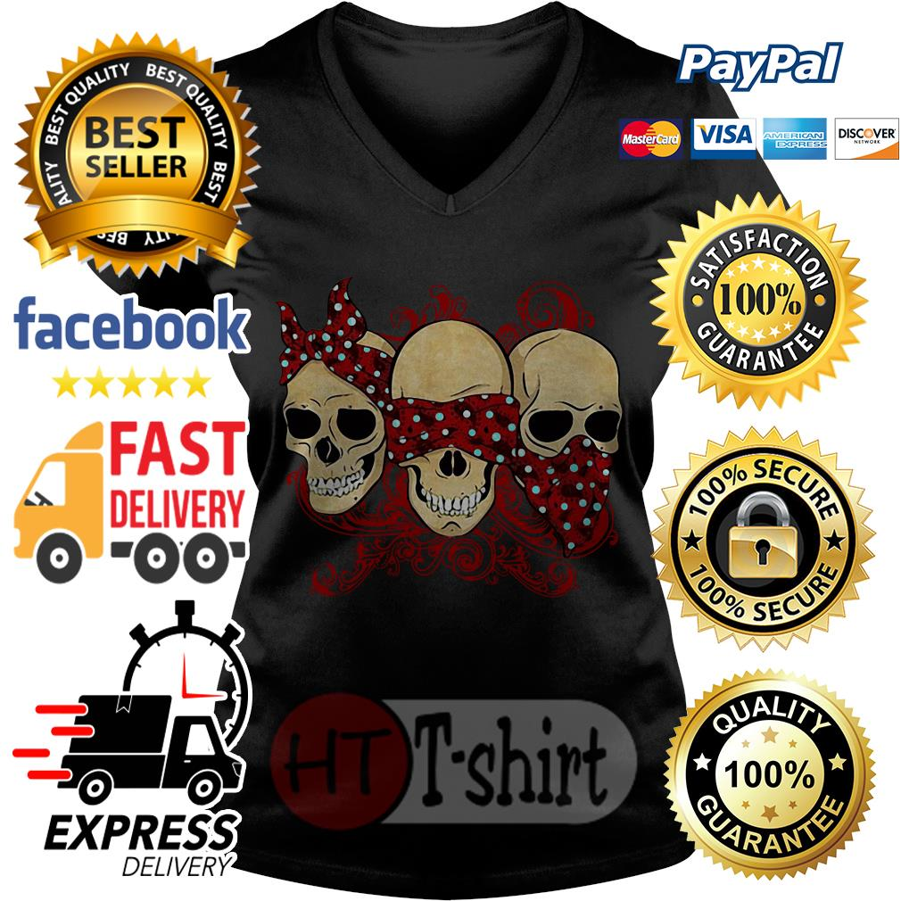 Hear See Speak No Evil Skull Heads V-neck t-shirt