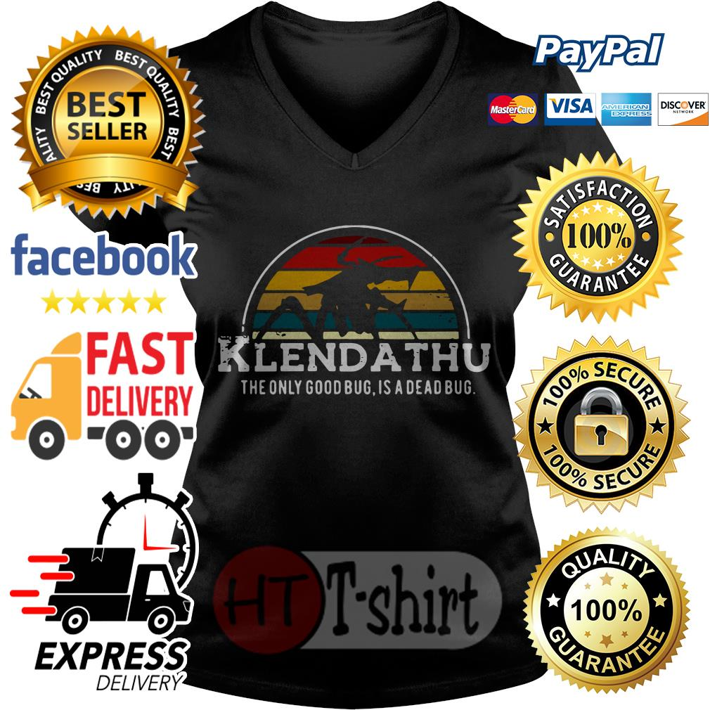 Klendathu the only good bug is a dead bug vintage V-neck t-shirt