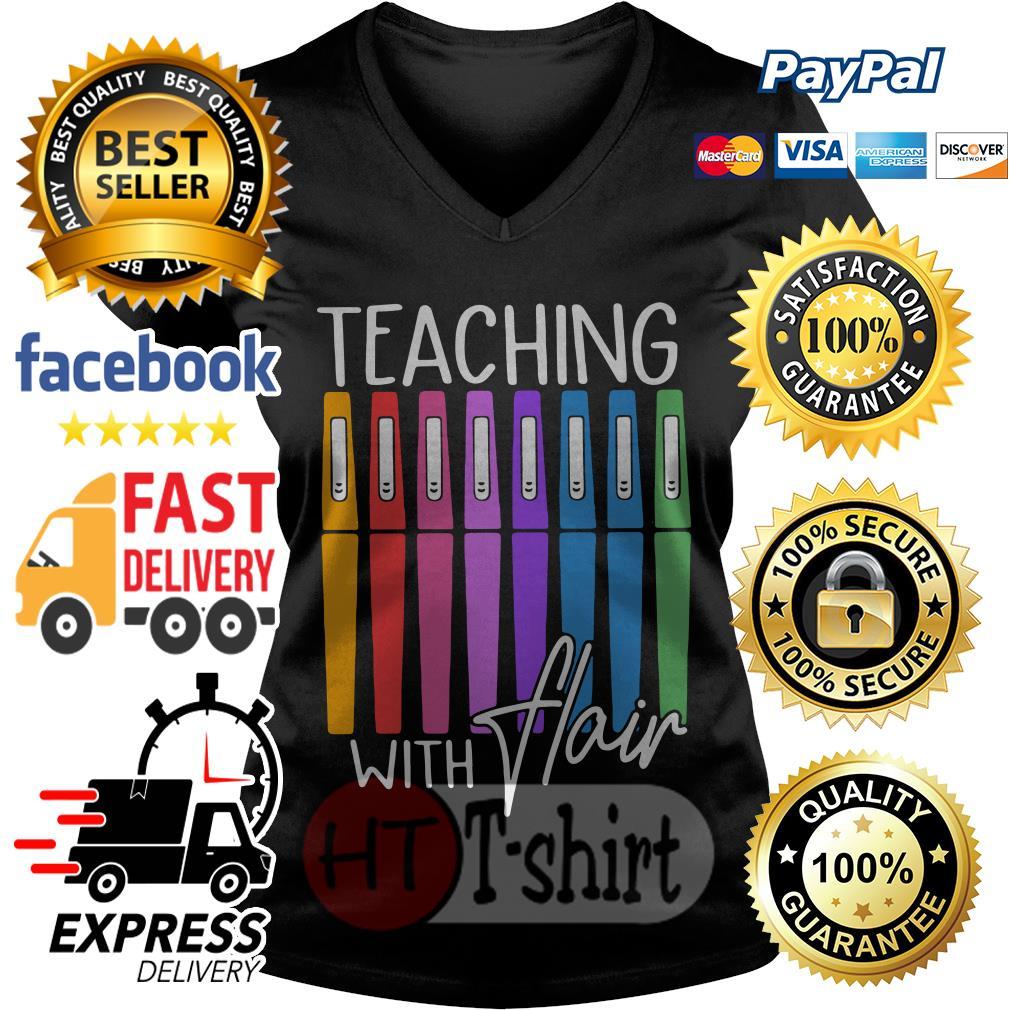 Pens teaching with flair V-neck t-shirt