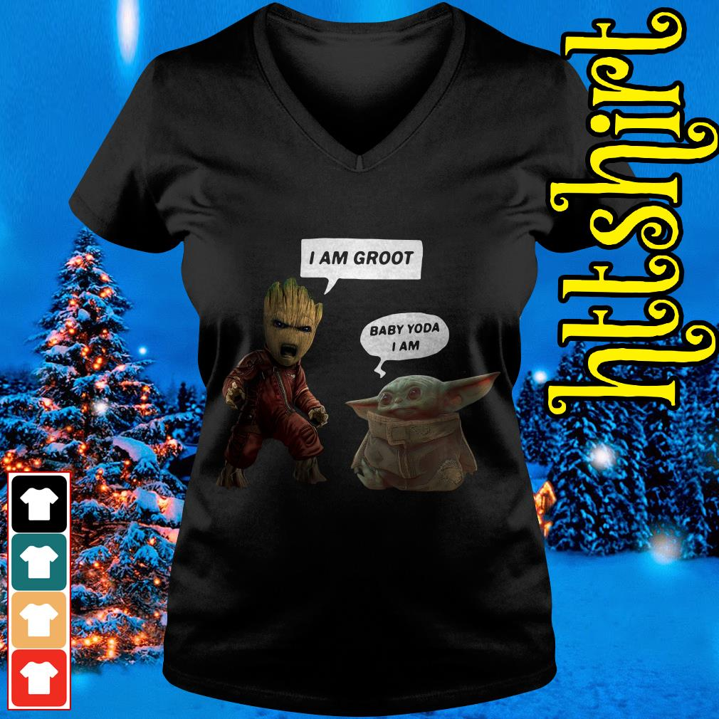 Baby Groot and Baby Yoda V-neck t-shirt