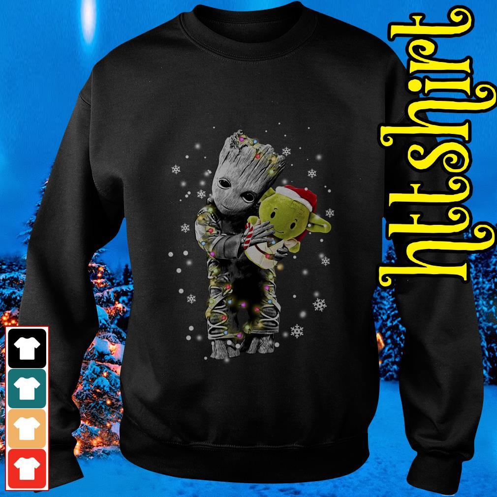 Baby Groot hugging baby Yoda Christmas Sweater