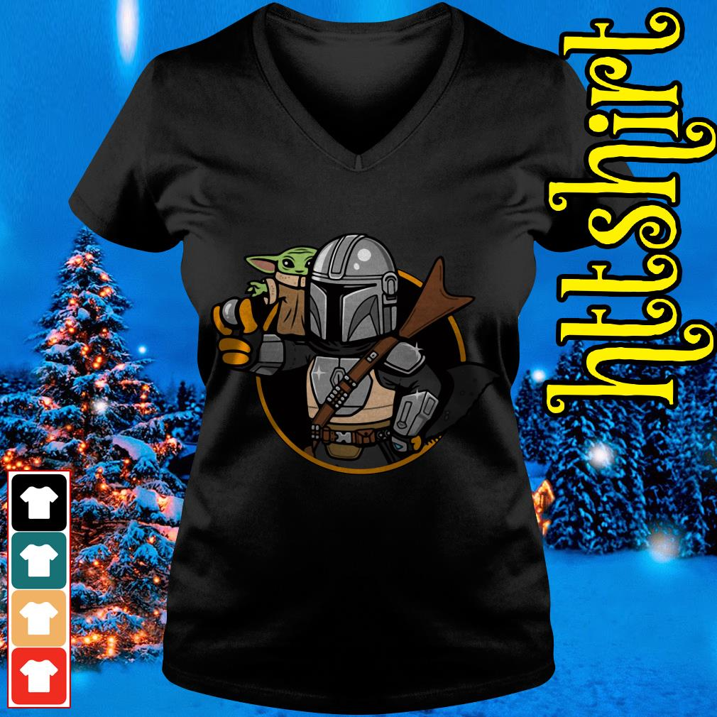 Baby Yoda Vault Mando and Child Mandalorian V-neck t-shirt
