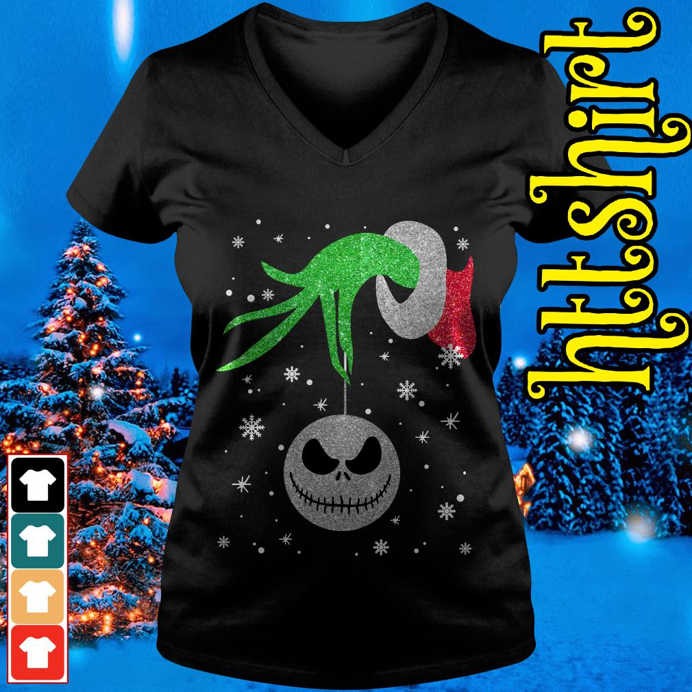 Grinch hand holding Jack Skellington Christmas V-neck t-shirt